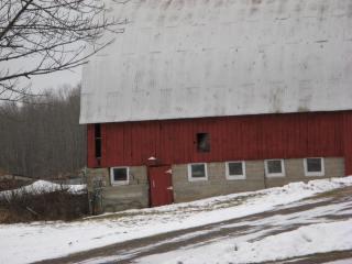 Barn built into hillside.